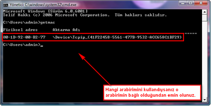 Windows Vista'da Mac Adresi Öğrenme