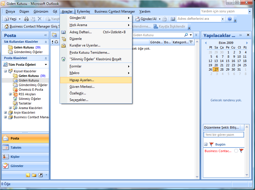 Türkçe Windows üzerinde Outlook 2007