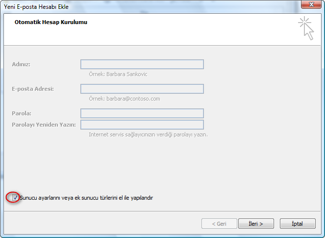 Türkçe Windows üzerinde Outlook 2007
