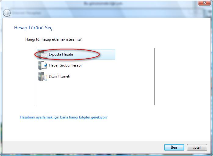 Türkçe Windows üzerinde Windows Mail