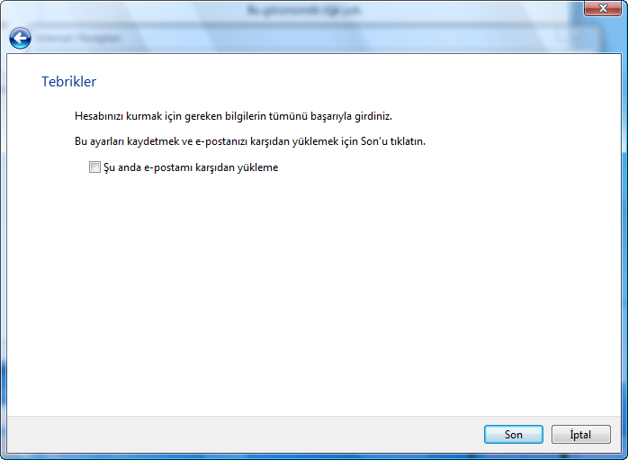 Türkçe Windows üzerinde Windows Mail