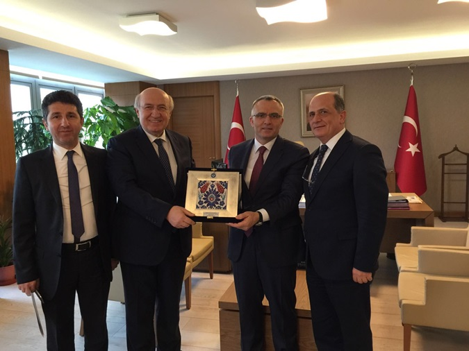 Our Rector Prof. Dr. M. Emin Arat paid a visit to the Minister of Finance Naci Ağbal